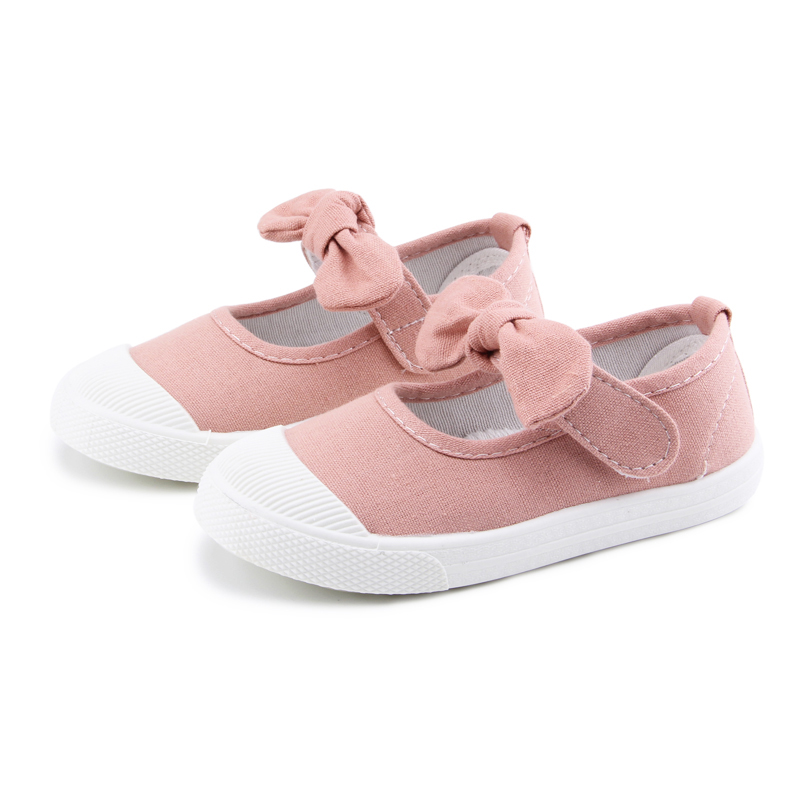 Baby Girl Shoes Canvas Casual Kids Shoes With Bowtie Bow-knot Solid Candy Color Girls Sneakers Children Soft Shoes 21-30 8
