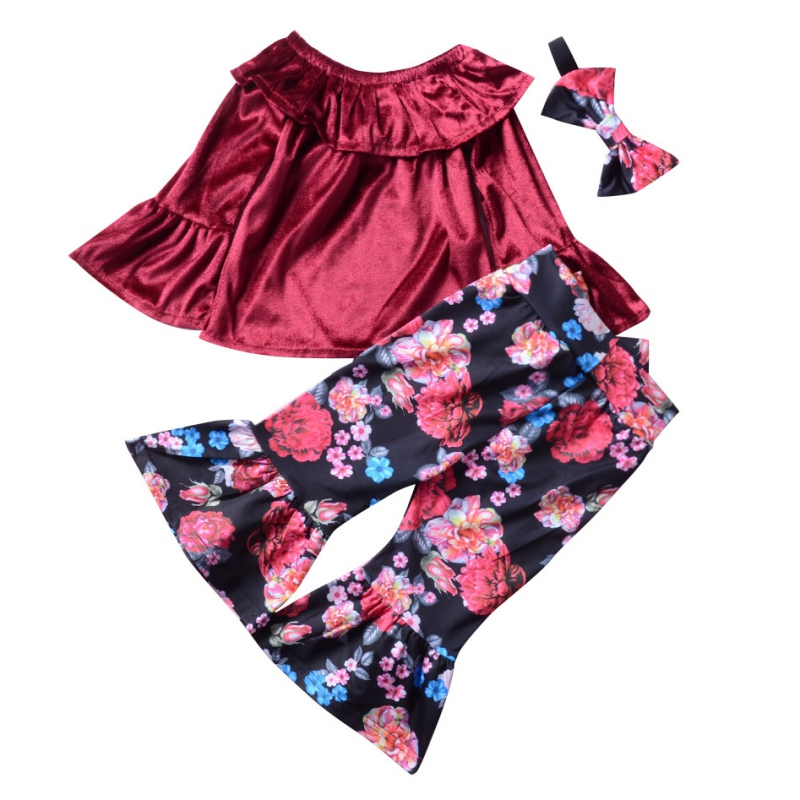 3PCS New Fashion Girls Word Shoulder Trumpet Top+Printing Horn Pants+Hairband Three-piece Girl Set Kids Suits Comfortable