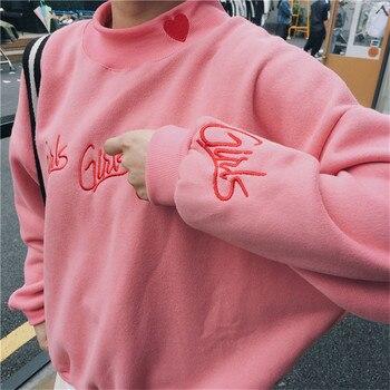 Fashion Women sweatshirts autumn winter 2018 korean style new pullover cute pink blue embroidery letter heart kawaii sweatshirt