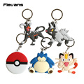 Monster Go Poke Ball / Houndoom / Poochyena / Meowth / Snorlax PVC Figure Toys with Keychain Pendants 10pcs/lot