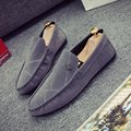 2017 Fashion Gray Blue Driving Shoes Mens Nubuck Leather Sewing Loafers Lazy Peas Chaussure Homme Men Leisure Slip-on Flats