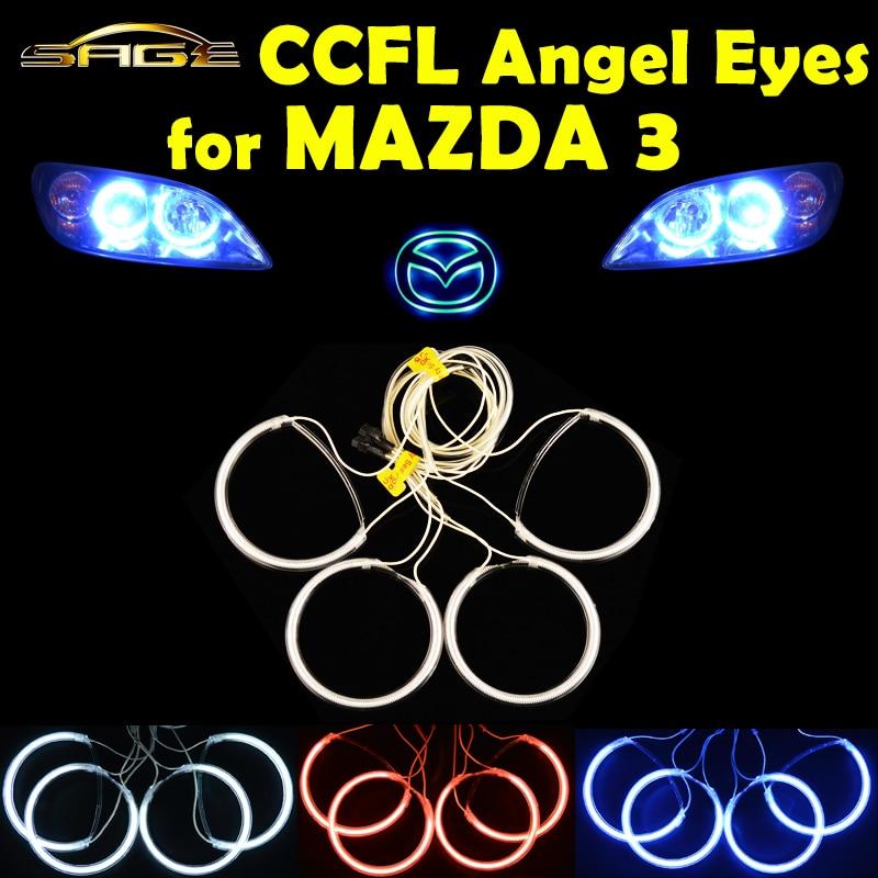 Flytop 4 PCS SET CCFL Angel Eyes for 2004 2008 MAZDA 3 Headlight HALO Rings Kit