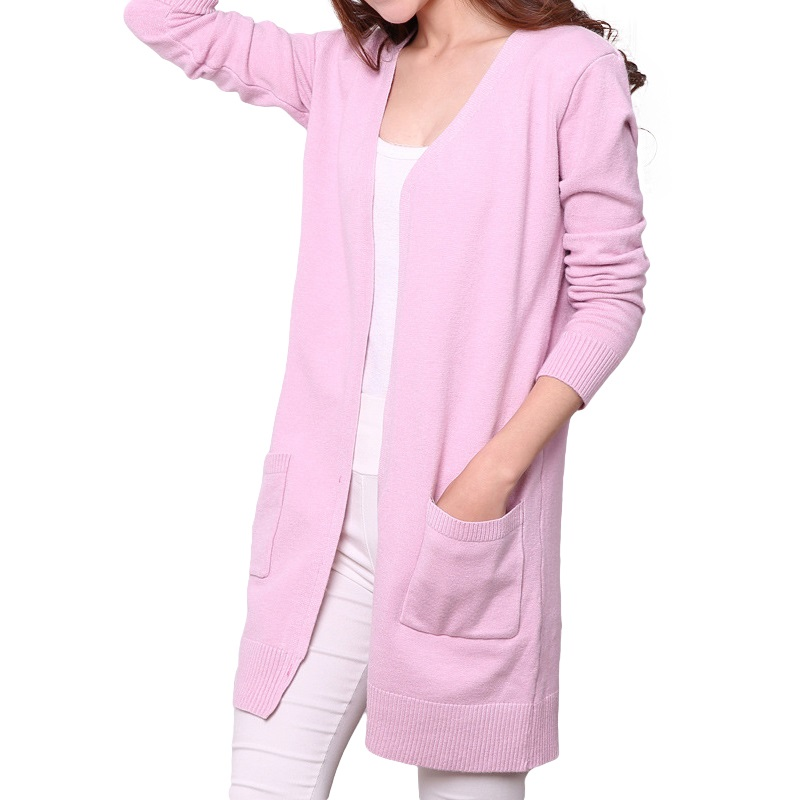 Solid Thick Long Women Cardigan Beige / Black / Gray / Pink / Wine Red Female Knitted Autumn & Winter Sweater Casual Girl Coats