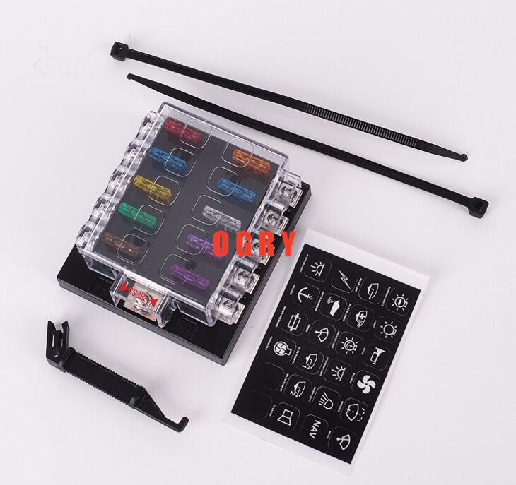 10way fuse set Terminals Circuit ATC ATO Car Auto Blade Fuse Box Block Holder with 4 pcs fuse,fuse puller and 10 terminals vehicle automotive blade fuse holder with a line of high quality waterproof fuse holder