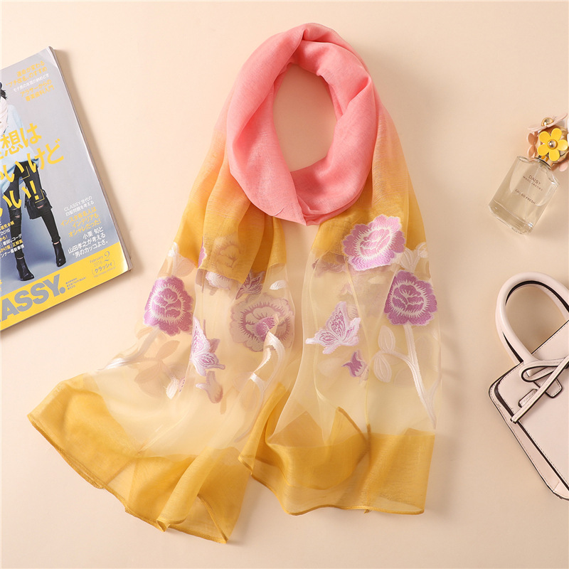 Spring   Scarf   Fashion Imitation silk rose Organza   Scarf     Wrap   Long   Scarves   pashmina Cut flowers   scarves   winter gradient   wrap