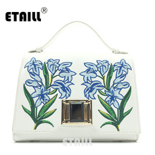 ETAILL Vintage Flower PU Leather Embroidery Handbag Women Bag Famous Brand Designer Tote Shoulder Bags Crossbody Bag Sac a Main