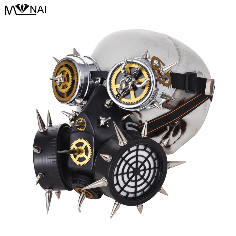 Women Men Gothic Vintage Gear Spikes Goggles Cosplay Punk Gas Mask Steampunk Party Masks Halloween Anime