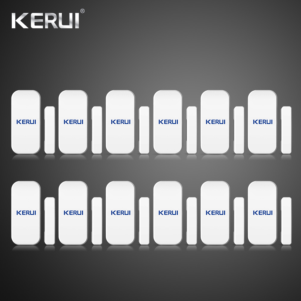 Wholesales 12PCS Kerui Extra Home Wireless Door Window Detector Gap Sensor For Home Alarm System Touch Keypad Battery Included wireless vibration break breakage glass sensor detector 433mhz for alarm system