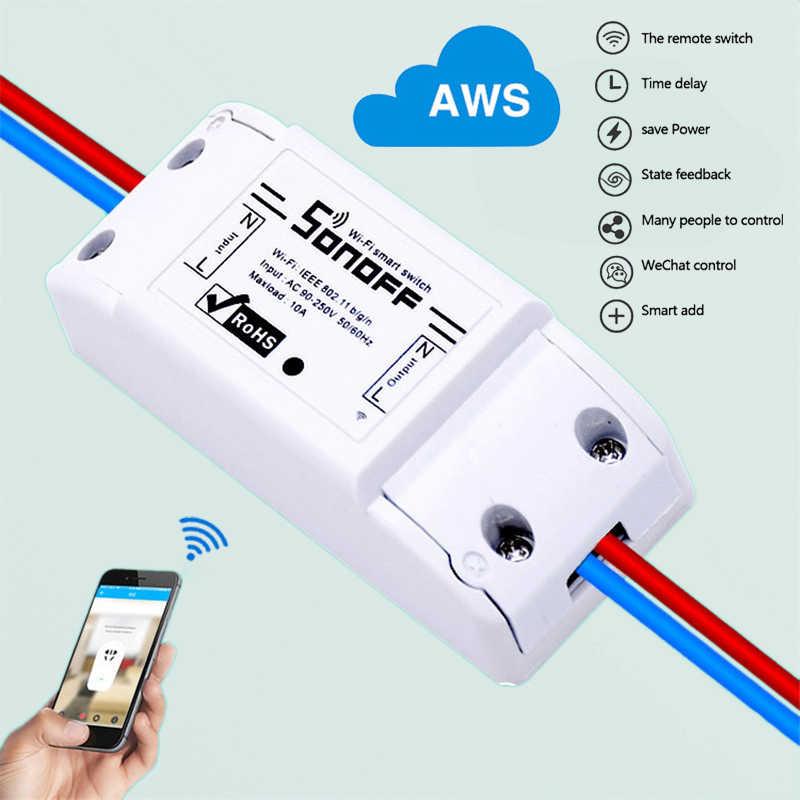 ITEAD Sonoff uniwersalny bezprzewodowy włącznik Wifi inteligentny moduł automatyki domowej zegar Diy pilot zdalnego sterowania Wifi kurtyny poprzez iOS Android Alexa