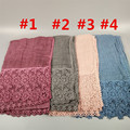 Pretty High Quality women lace floral winter sjaal long soft headband islam head scarf muslim cotton hijabs and shawls 10pcs/lot