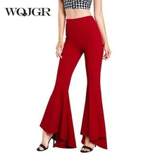 WQJGR Wide Leg Pants Plus Size Women Clothing Full Length High Waist Streetwear Bell Bottom Trousers