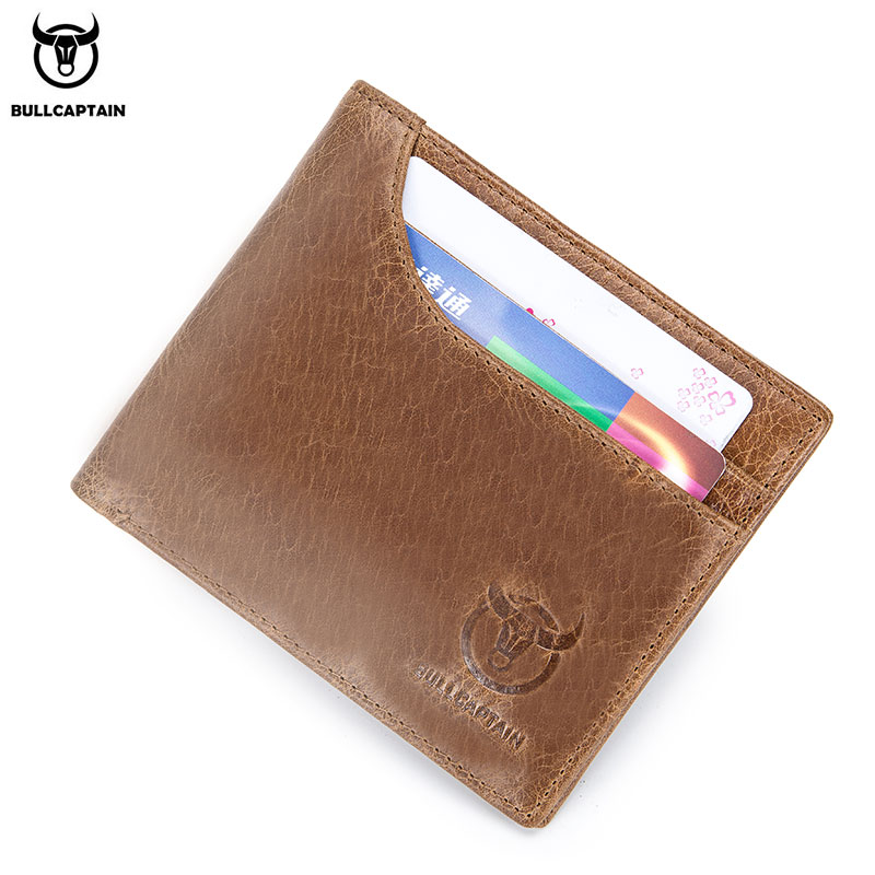 BULLCAPTAIN 100% Genuine Leather Wallet Fashion Short Bifold Men Wallet Casual Soild Male Wallets With Coin Pocket Purse 023 new design 100% leather genuine male wallets slim short men wallet with zipper coin purse pocket soft leather card holder wallet