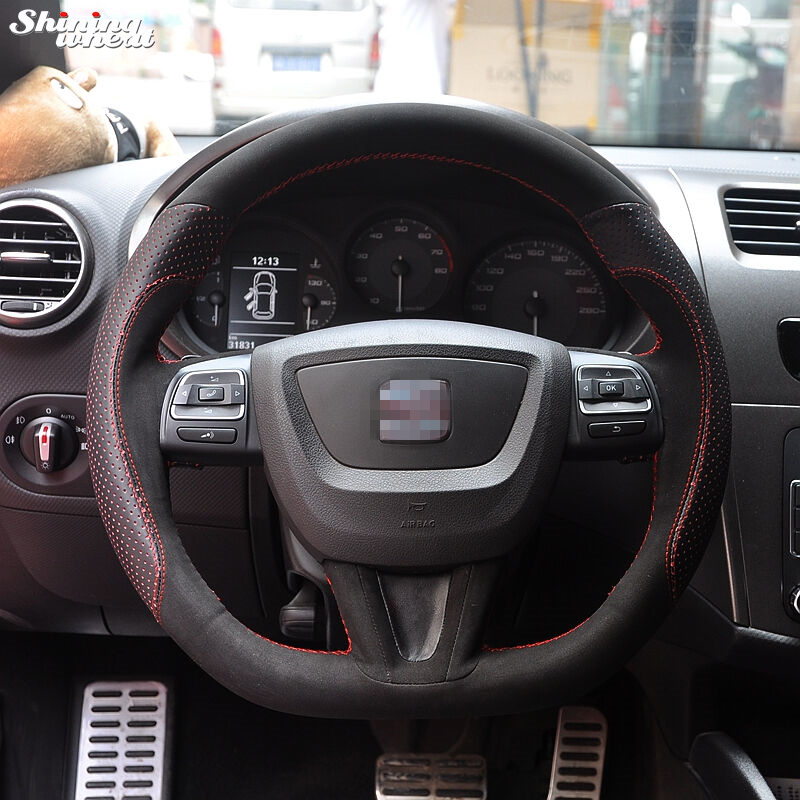 Shining wheat Hand-stitched Black Suede Leather Car Steering Wheel Cover for Seat Leon 2009-2012