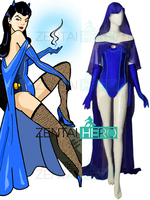 Custom Made 2019 Teen Titans Bombshell Raven Cosplay Costume Outfit Blue Spandex Girl Rachel Roth Halloween Bodysuit With Cape