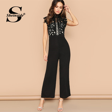 Sheinside Elegant Guipure Lace Bodice ขากว้างผู้หญิง Jumpsuit 2019 ฤดูร้อนแขนกุดสีดำ Hollowed Out Lace Maxi Jumpsuits