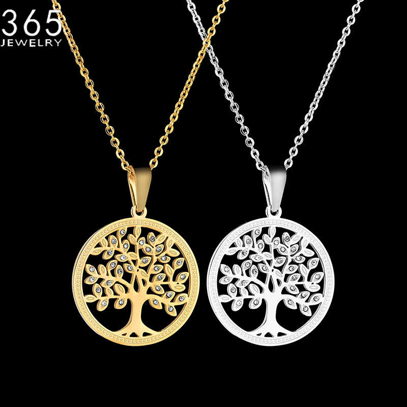 New Fashion Gold Color Tree Of Life Pendant Necklace Stainless Steel Crystal Round Necklace For Women Drop Shipping