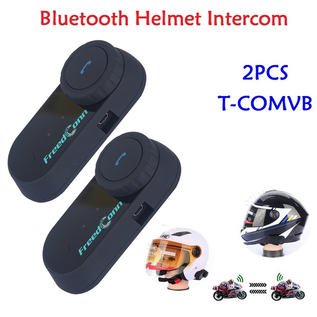 2265e179dbd 2pcs Full Duplex 800M T-COMVB Motorcycle Motorbike Helmet Headset Bluetooth  Intercom System with FM Radio for Skiing Waterproof
