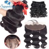 Sapphire Brazilian Body Wave Human Hair Bundles With Lace Frontal Closure Natural Color Human Hair 3