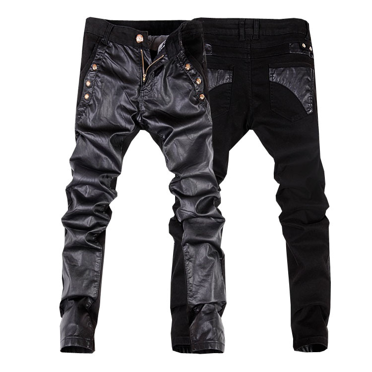2014 new fashion men faux leather jeans pant mens skinny leather denim pants trousers 28-34(small size)free shipping