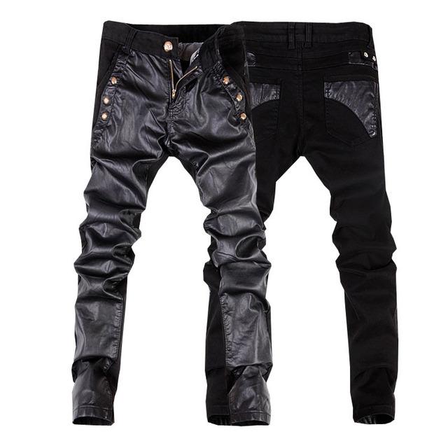 2014 nova moda masculina couro do falso calça jeans denim calças calças de couro dos homens magros 28-34 (tamanho pequeno) frete grátis