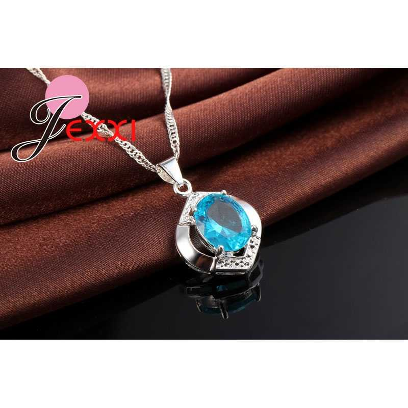 ขายร้อนคลาสสิก 100% 925 เงินแท้เกรด AAA ++ CZ Wedding Engagement สร้อยคอ + ต่างหูชุดเครื่องประดับ Blue