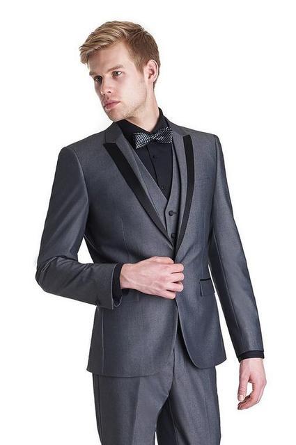 Custom Made Abiti Da Uomo 2015 Wedding Smoking Grigio Scuro Uomo Vestito  Con Pantaloni Da Sposa 95b3cfefa5c