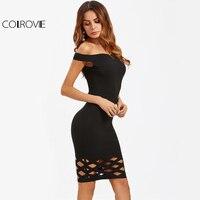 COLROVIE Czarny Laser Cut Hot Klub Sukienka Kobiety Forma Zabudowy Sexy Slim Bodycon Midi Suknie 2017 Off Shoulder Elegancki Party sukienka