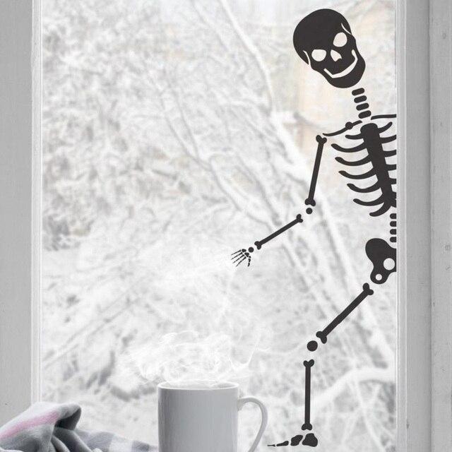 뼈 공포 판타지 윈도우 홈 인테리어 할로윈 휴일 파티 비닐 벽 스티커 바 엔터테인먼트 아트 데코 벽화 WSJ19