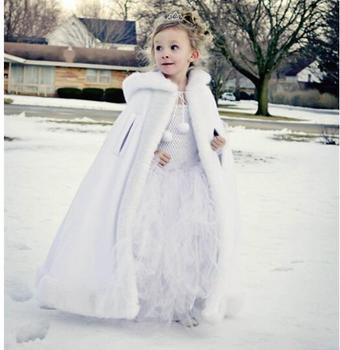 White Long Cape for Kids Wedding Cloak Faux Fur Jacket Winter Children Outerwear for Kids Dresses Coat with Hat