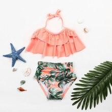 Купальный костюм для девочек из двух предметов; одежда для купания; детский бандажный костюм с оборками и принтом; купальный костюм; комплект бикини; AP2