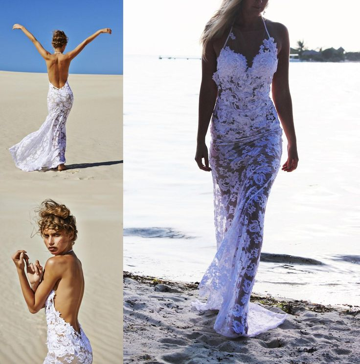 aliexpresscom buy zy313 sexy white long mermaid beach wedding dress 2016 halter backless sleeveless appliques boho wedding gown robe de soiree from