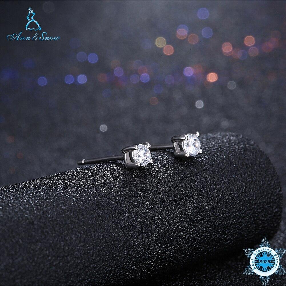 Ann & Schnee Neue Ankunft 925 Sterling Silber Ohrringe Klar Cz Push Zurück Bolzen Ohrringe Für Frauen Mode Schmuck Runde Einfache Stil