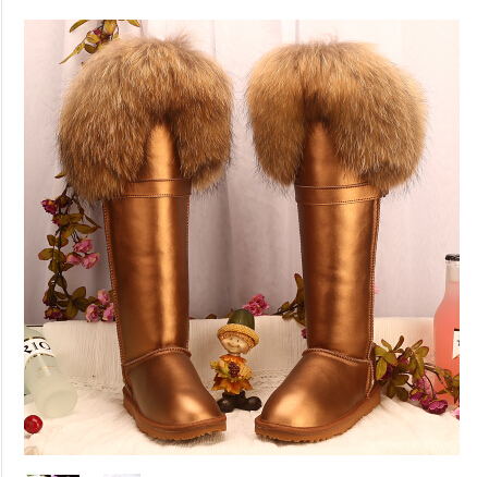 Women's Winter Boots Fur Knee High Snow Boots Outdoor Footwear Leather Thigh High Boots-in Snow Boots from Shoes on Aliexpress.com | Alibaba Group