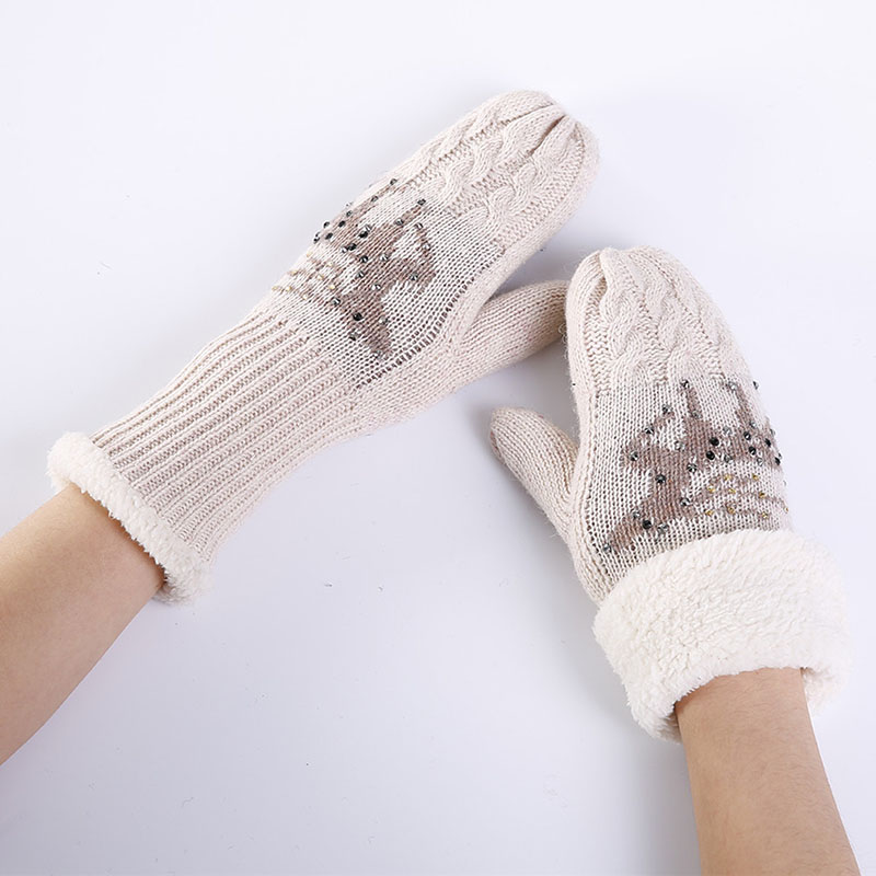 Women Gloves Cartoon Cute Christmas Deer Winter Mittens Gloves Knitting Cashmere Mitten Warm Fingerless Gloves Gants Femme