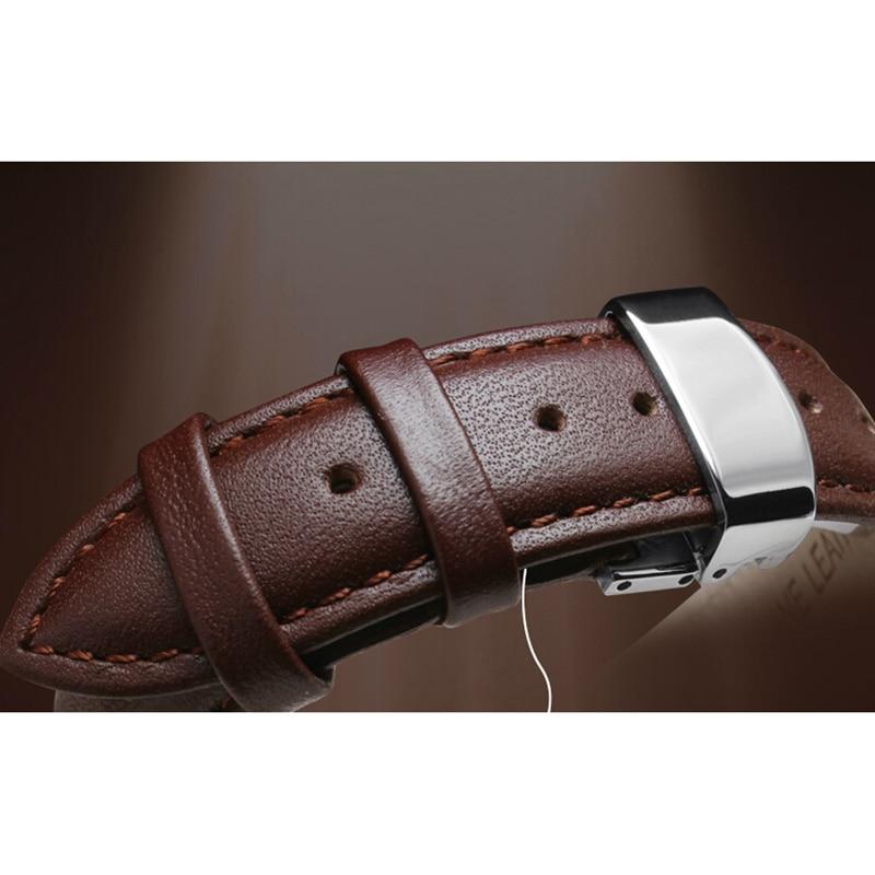 Kiváló minőségű 18mm 19mm 20mm 22mm valódi bőr karóra, ezüst acél karóra, fekete, valódi bőr karóra