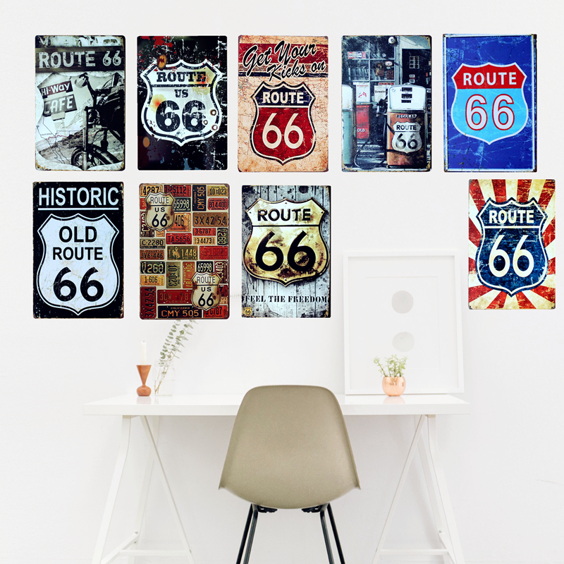Route Us 66 Metal Tin Signs American Old Route 66 Signage