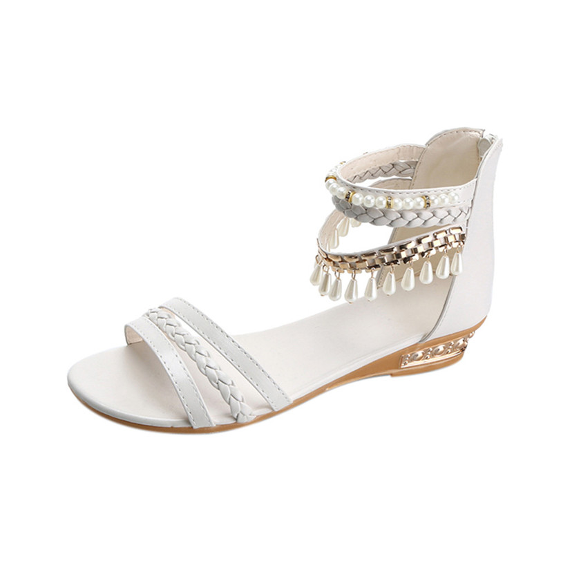 High quality Summer Elegant Platform Shoes Woman Pearl Wedges Sandals Casual Shoes 170504 phyanic 2017 gladiator sandals gold silver shoes woman summer platform wedges glitters creepers casual women shoes phy3323