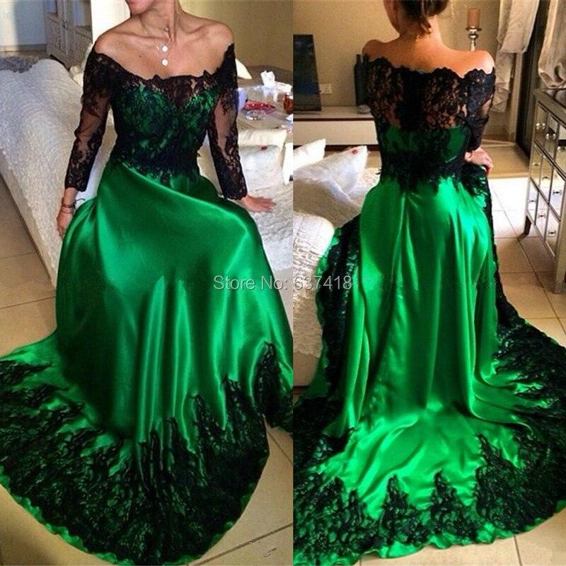 c996db3d6bc97 Emerald Green Evening Dress Prom Dress with Black Lace Appliques Long  Sleeve Vestidos Largos para Bodas