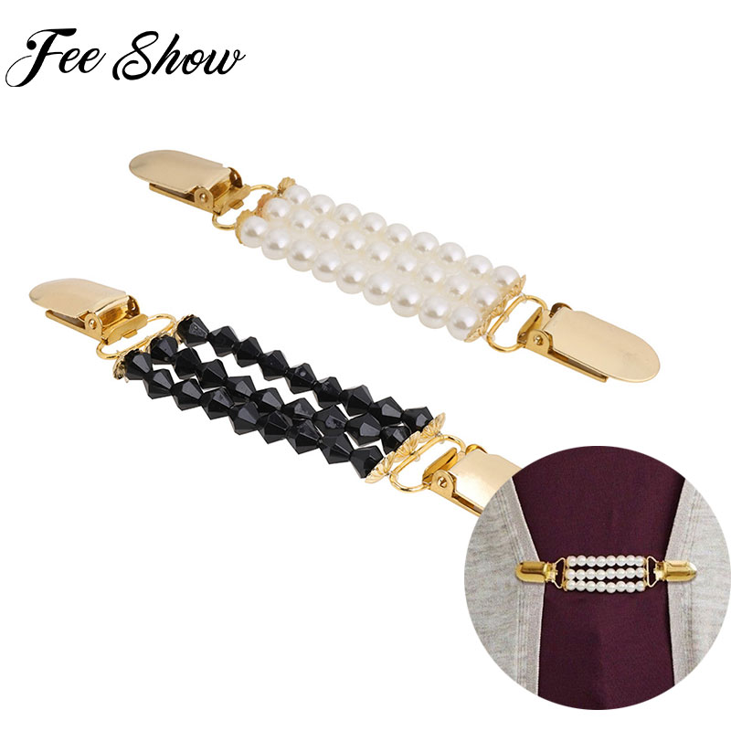 Fashion Women Beaded Sweater Shawl Clips Cardigan Blouse Shirt  Collar Duck-mouth Plated Metal Clip Holder Women Gifts Jewelry