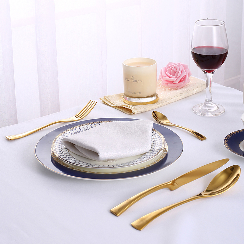 24Pcs/set Stainless Steel Gold Plate Cutlery Set 304 Dinnerware Tableware Silverware Set Dinner Knife Fork Spoon Drop Shipping 5