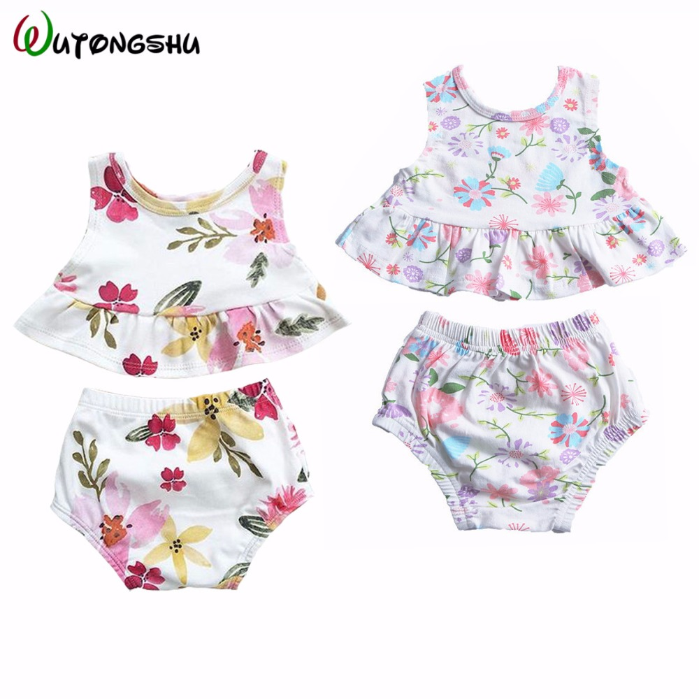 Newborn Baby Girl Clothes Set Ropa Bebe Girl 2 pcs Girl Suit + Bloomers For Summer Floral Baby Girl Outfits For 0-24 Months 3pcs set newborn infant baby boy girl clothes 2017 summer short sleeve leopard floral romper bodysuit headband shoes outfits