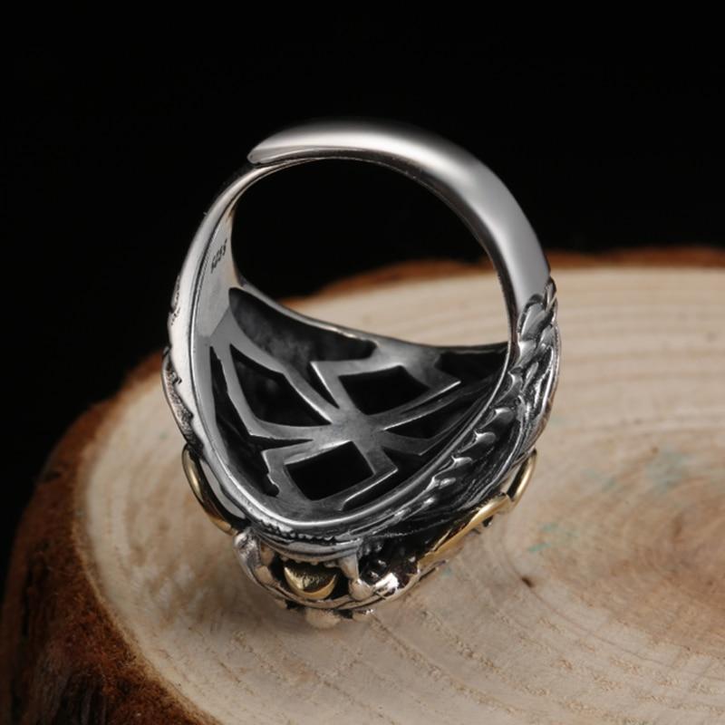 Image 3 - ZABRA Luxury 925 Sterling Silver Dragon Ring  Big Adjustable Size  Red Stone Cubic zirconia Punk Mens Rings Gothic Biker Jewelrybiker  jewelryring bigring gothic