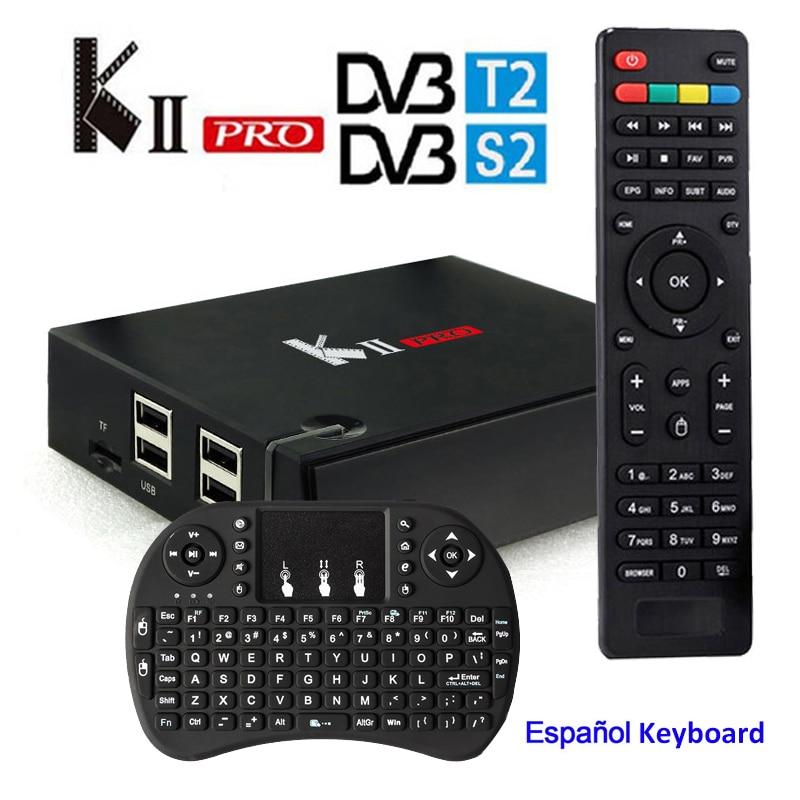 KII PRO DVB-S2 DVB-T2 S905d Android7.1 TV Box Quad Core 2GB 16GB K2 pro DVB T2 S2 4K Media player Dual Wifi Support CCCAM Clines