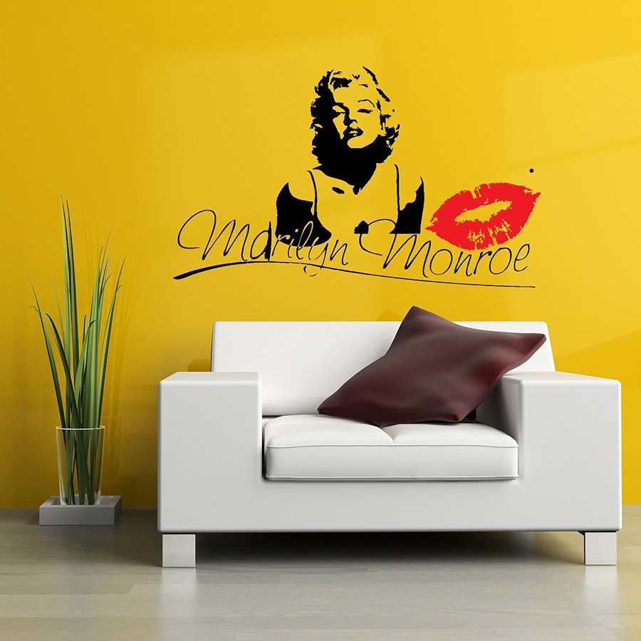 Marilyn Monroe Kiss Wall Decal Stickers Decor Easy Removable ...