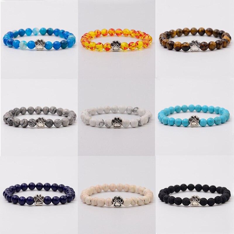 OIQUEI 8mm Multicolor Natural Stone Bracelets Men Women Alloy Dog Cat Footprint Paw Charms Bracelet Lovers Strench Jewelry Gift|Strand Bracelets| - AliExpress