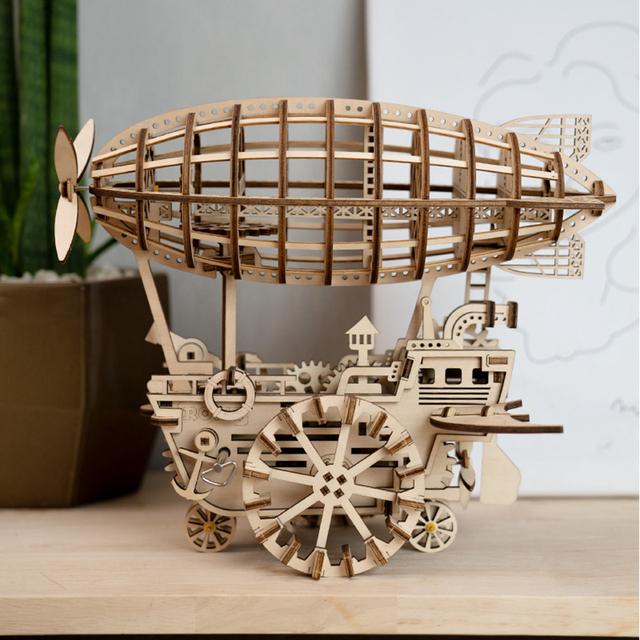 Airship Shaped Wooden DIY Model
