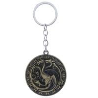 10pc/lot WholesaleGame of Thrones House of Targaryen Keychain Rotating Dragon Badge Man Car Key Chain Key Ring Women Gift