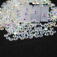 SS3-SS8 Nude Crystal AB Rhinestones Back Flat Round Nail Art Decorations  And Stones Non a3443632f190