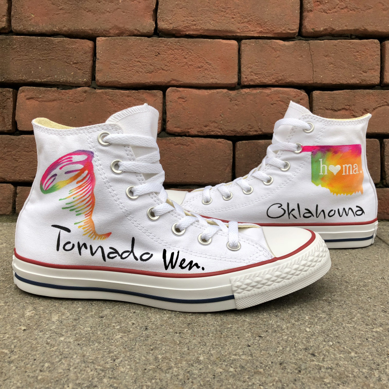 Converse Chuck Taylor White Men Women's Shoes Tornado in Oklahoma Original Design Hand Painted Shoes Woman Man Sneakers