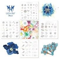 Acrylic Flower Style Nail Art Templates Nail Stamping Plates Nail Art Image Polish Stamp Stencil DIY